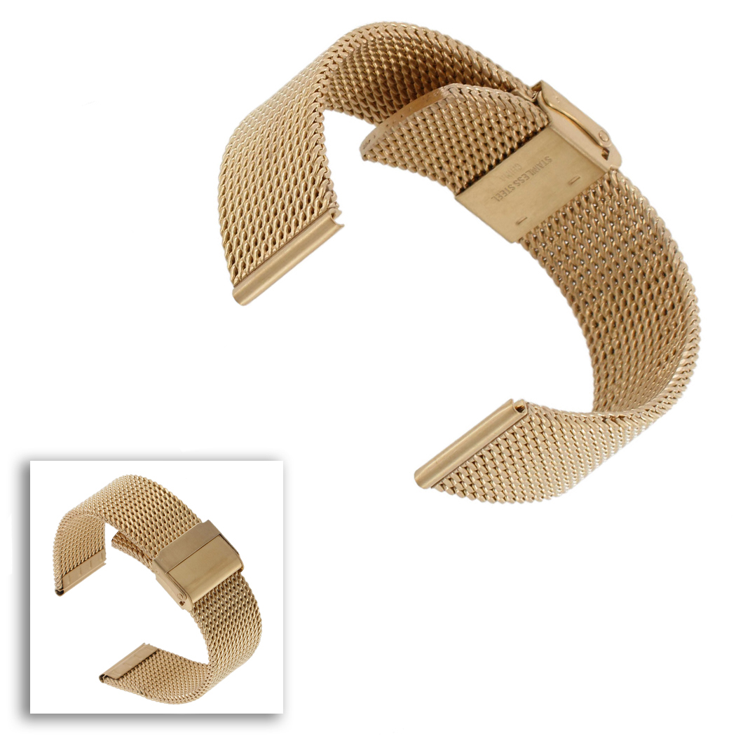 Hadley Roma MB3835Y 22mm Gold Tone Mens Straight Thick Mesh Bracelet Watch Band