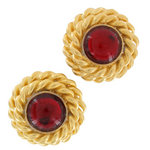 Vintage 1980S Button Gold Tone Twisted Red Big Clip On Button Earrings USA Made