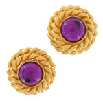 Vintage 80S Button Gold Tone Twisted Purple Big Clip On Button Earrings USA Made