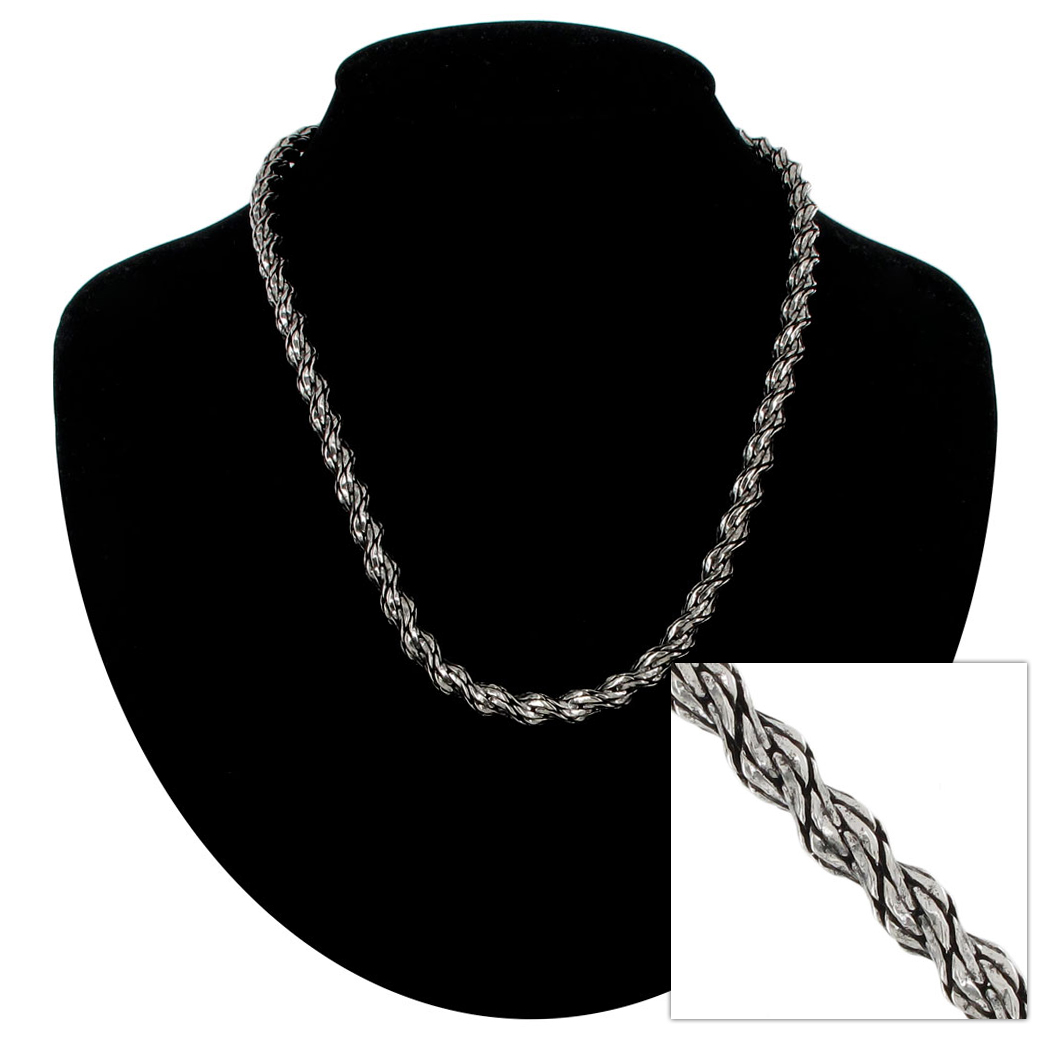 "Ky & Co New Antiqued Silver Tone Chunky Rope Chain Necklace USA Made 18"" Thumbnail 1"