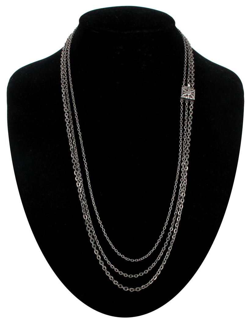 "Vintage 3 Strand Chain Layered Necklace 21"" Silver Tone Made USA"