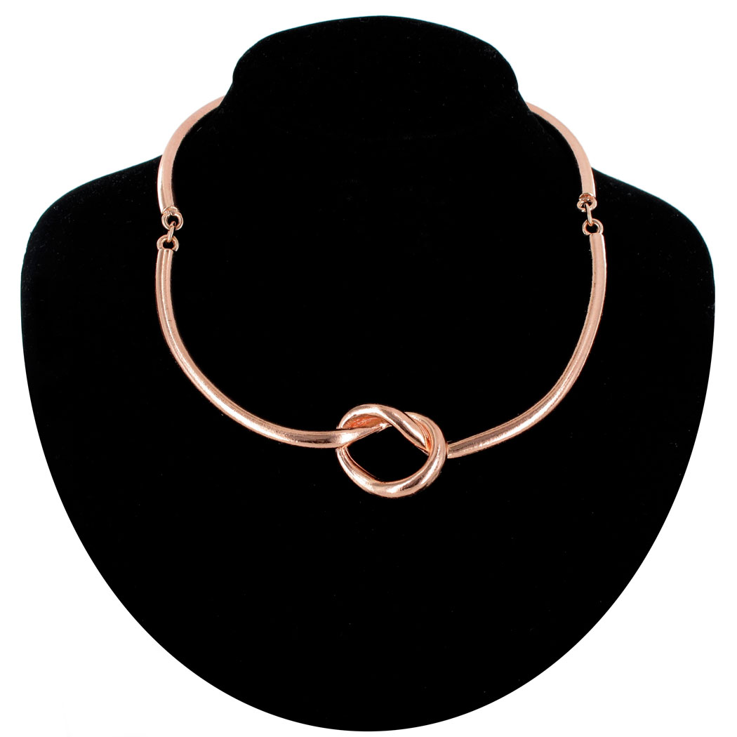 "Ky & Co Necklace Choker Collar Retro Style Rose Gold Tone Knot Love 16"" Made USA"