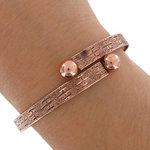 Emery Wrap Bangle Antiqued Rose Gold Tone One Size Fits All Bracelet Made in USA Thumbnail 3