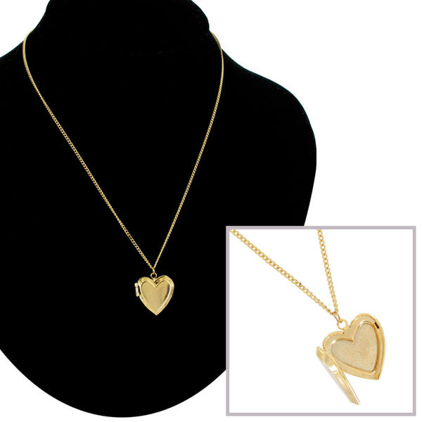 KY & Co USA Made Necklace Gold Tone Heart Locket Beveled Plain Simple