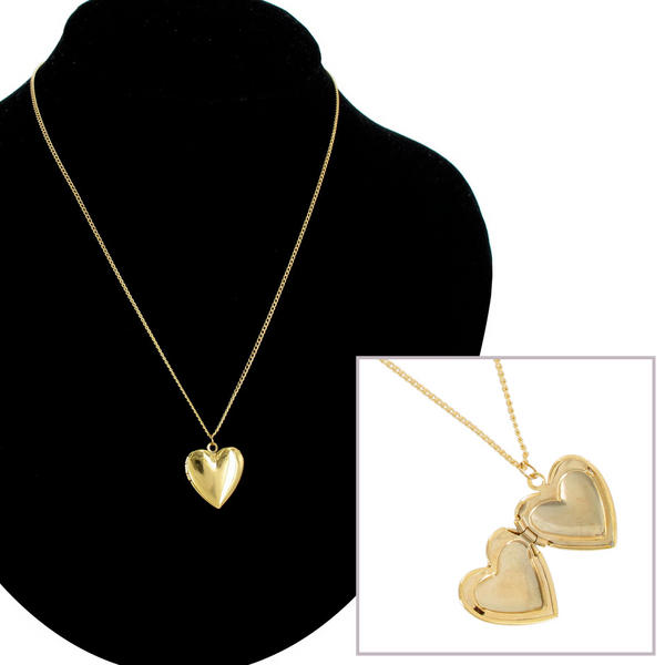 KY & Co USA Made Necklace Gold Tone Heart Locket Plain Simple