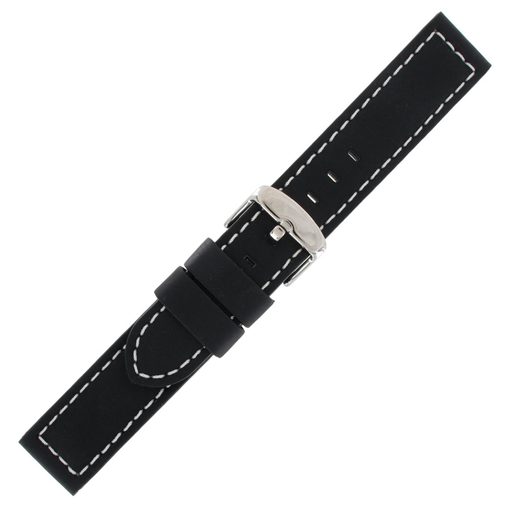Hadley Roma MS740 18mm Watch Band Black Silicone Leather Stitched Mens Watchband