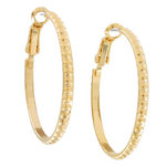"Ky & Co Yellow Gold Tone Small Hoop Dotted Earrings Made USA 1 1/4"" Thumbnail 2"