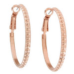 "Ky & Co Rose Gold Tone Small Hoop Dotted Earrings Made USA 1 1/4"" Thumbnail 2"