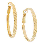 "Ky & Co Yellow Gold Tone Small Hoop Slanted Ribbed Pierced Earrings Made USA 1 3/8"" Thumbnail 2"