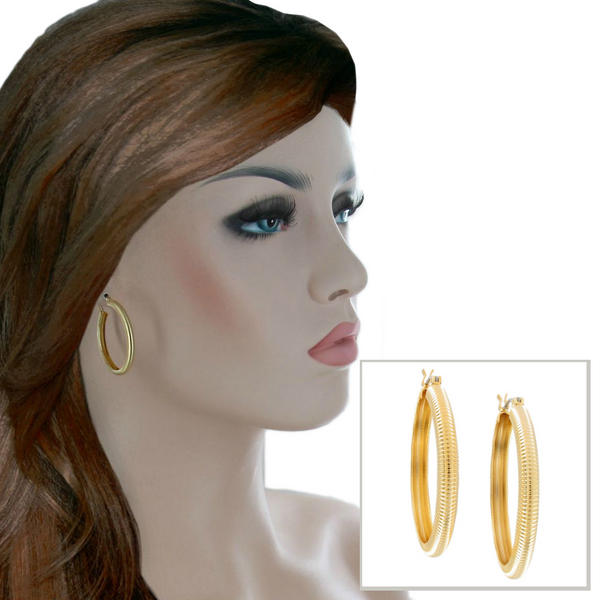 Ky & Co Yellow Gold Tone Small Hoop Domed Ribbed Pierced Earrings Made USA 1 3/8""
