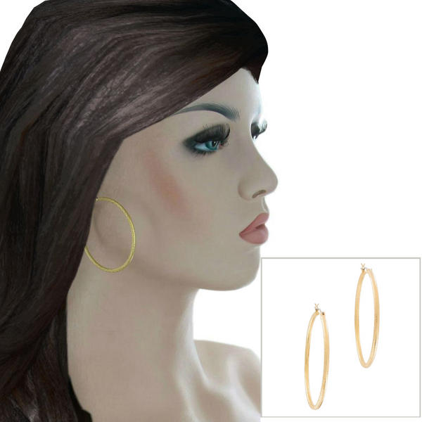 Ky & Co Yellow Gold Tone Big Hoop Pierced Earrings Textured Made USA 2""