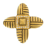 Vintage Pin Brooch Designer Signed Danecraft Rhinestone Cross