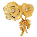 Brooch Large Pansy Flower Gold Tone Double Pin Thumbnail 1