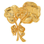 Brooch Large Pansy Flower Gold Tone Double Pin Thumbnail 2