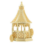 Danecraft Brooch Pin Dual Finish Gazebo Gold Tone Matte Glossy