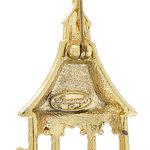 Danecraft Brooch Pin Dual Finish Gazebo Gold Tone Matte Glossy Thumbnail 3