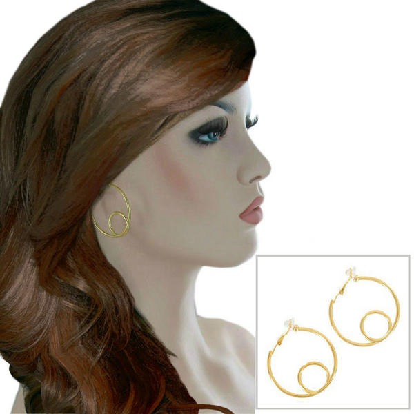 Ky & Co Medium Yellow Gold Tone Wire Twist Clip On Hoop Earrings USA 1 1/2""