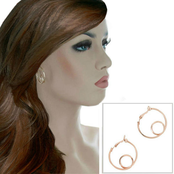 Ky & Co Small Rose Gold Tone Square Wire Twist Clip On Hoop Earrings USA 1 1/8""