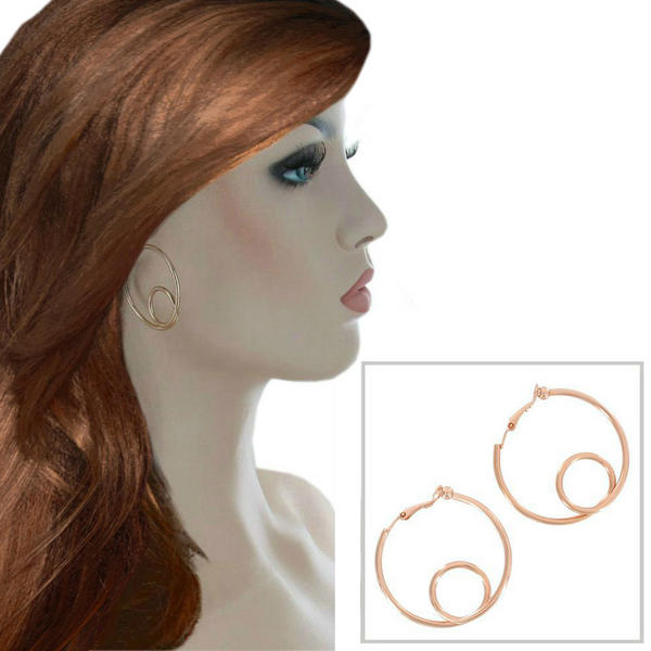Ky & Co Medium Rose Gold Tone Wire Twist Clip On Hoop Earrings USA 1 1/2""