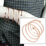 "Vintage Rose Gold Tone Bangle Statement Quad Spiral Forearm Bracelet 3"" Wide"