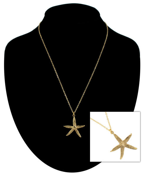 Ky & Co Pendant Necklace Starfish Nautical Symbol Gold Tone Large Charm USA Made