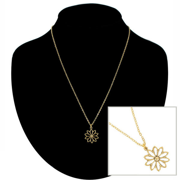 Ky & Co Pendant Necklace Daisy Flower Symbol Gold Tone Charm USA Made
