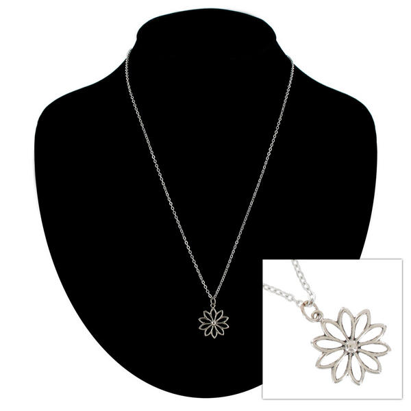 Ky & Co Pendant Necklace Daisy Flower Nature Symbol Silver Tone Charm USA Made