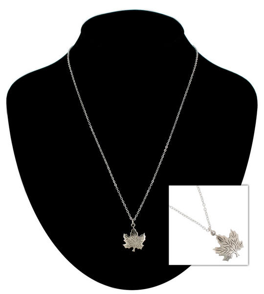 Ky & Co Pendant Necklace Canadian Maple Leaf Symbol Silver Tone Charm USA Made