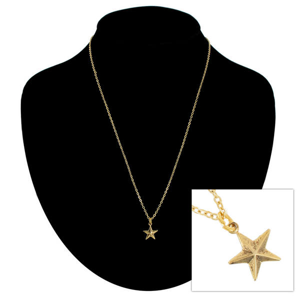 Ky & Co Pendant Necklace Nautical Star Nature Symbol Gold Tone Charm USA Made