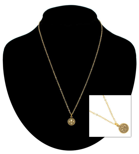Ky & Co Pendant Necklace Fleur De Lis Symbol Gold Tone Charm USA Made