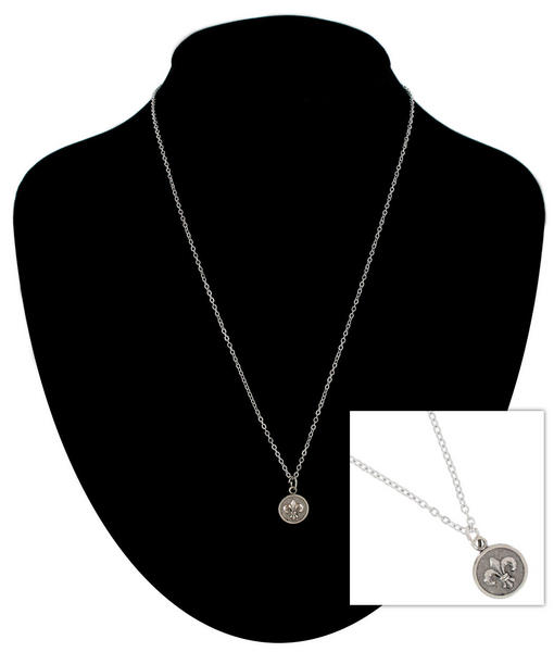Ky & Co Pendant Necklace Fleur De Lis Symbol Silver Tone Charm USA Made