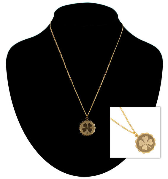 Ky & Co Gold Tone Necklace Four Leaf Clover Irish Luck Pendant Charm USA Made