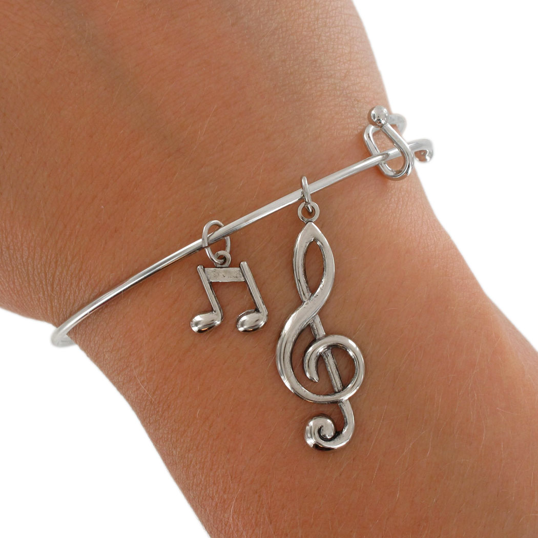 Ky Co Usa Made Silver Tone Bracelet Bangle Music Notes G Clef Treble
