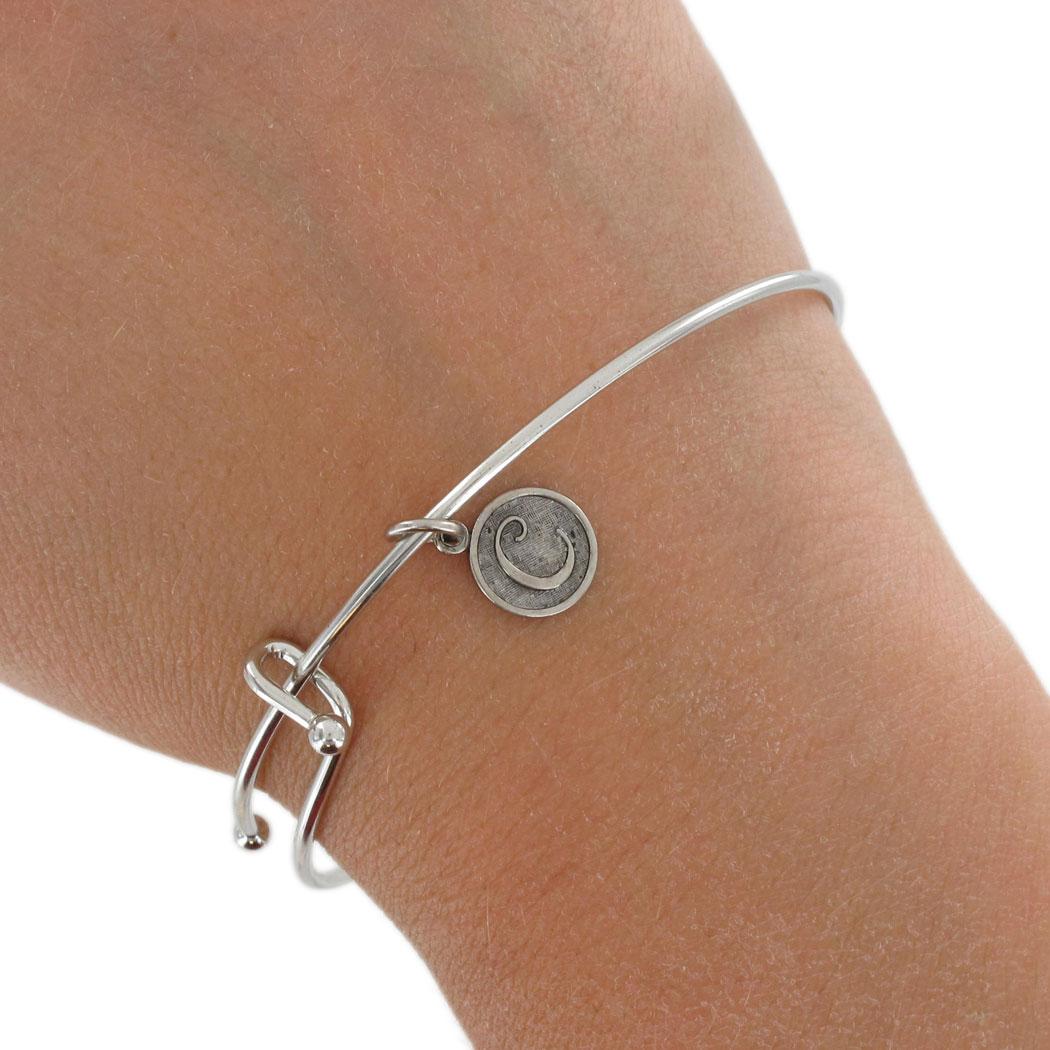 Ky Co Usa Made Silver Tone Bracelet Bangle Cursive Initial Letter C