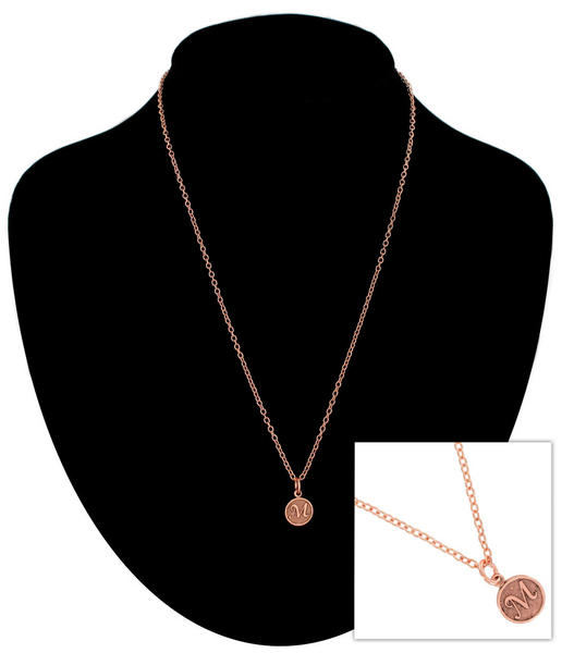 Ky & Co Rose Gold Tone Chain Cursive Initial Letter M Pendant Charm USA Made