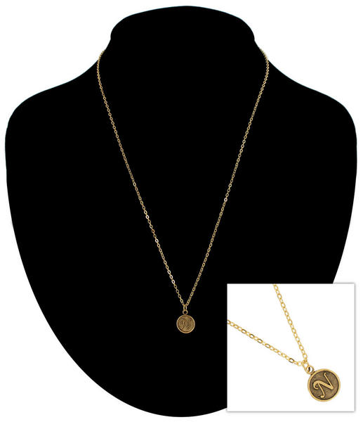 "Ky & Co Gold Tone Script Initial Letter ""N"" Pendant Necklace USA Made"