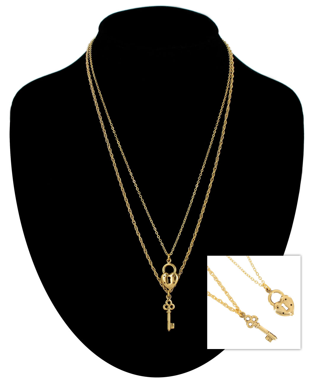 119b2cc95e Ky & Co Gold Tone Chain Small Heart Key Charm Pendant Sweetheart Necklace  Set made-in-usa | Necklaces | ajraefields
