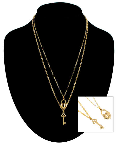 Ky & Co Gold Tone Chain Small Heart Key Charm Pendant Sweetheart Necklace Set