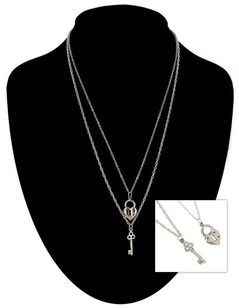 Ky & Co Silver Tone Chain Small Heart Key Charm Pendant Sweetheart Necklace Set