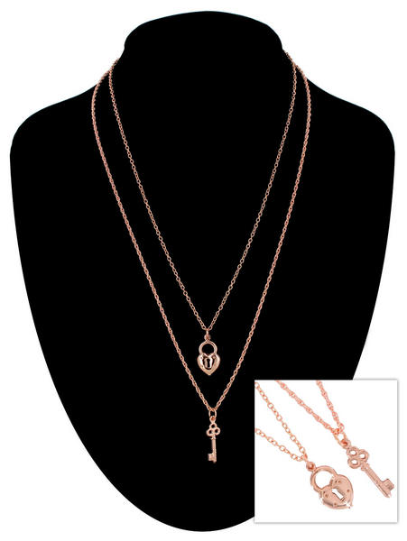 Ky & Co Rose Gold Tone Chain Sm Heart Key Charm Pendant Sweetheart Necklace Set