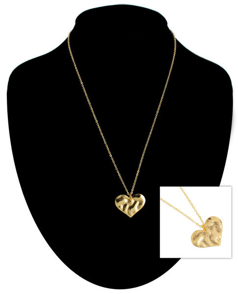 Ky & Co Gold Tone Chain Medium Hammered Texture Heart Pendant Necklace USA Made