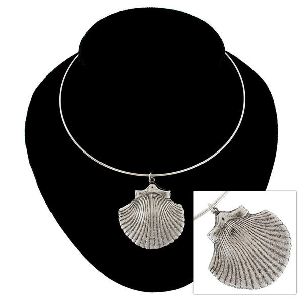 Ky & Co Silver Tone Cockle Seashell Beach Pendant Collar Necklace USA Made