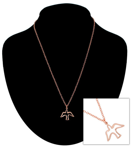 Ky & Co Rose Gold Tone Chain Small Dove Peace Hope Charm Pendant Necklace USA