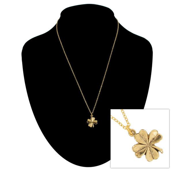 Ky & Co Gold Tone Chain Small Four Leaf Clover Irish Charm Pendant Necklace USA