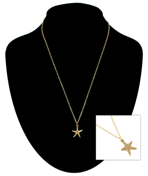 Ky & Co Gold Tone Chain Small Starfish Nautical Beach Charm Pendant Necklace USA