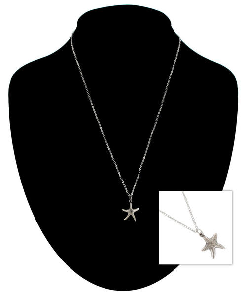 Ky & Co Silver Tone Chain Small Starfish Nautical Beach Charm Pendant Necklace