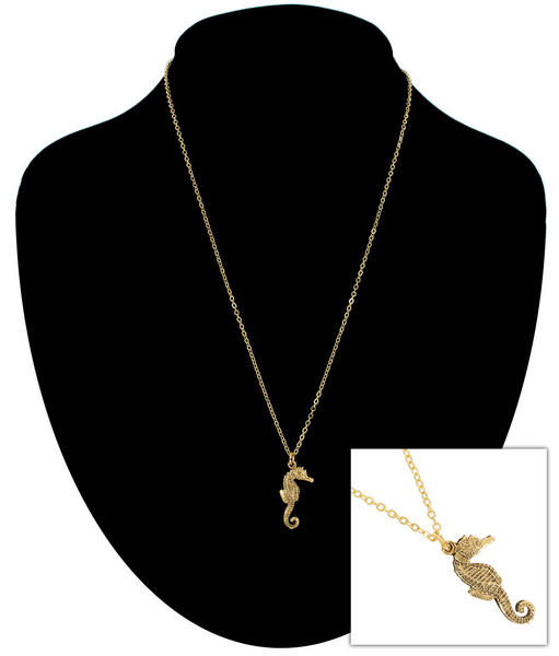 Ky & Co Gold Tone Chain Small Sea Horse Nautical Beach Charm Pendant Necklace