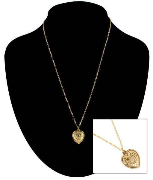 Ky & Co Gold Tone Chain Horse Shoe Good Luck Heart Charm Pendant Necklace USA