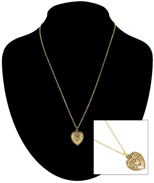 Ky & Co Gold Tone You Are My Sweetheart Heart Charm Pendant Necklace USA Made