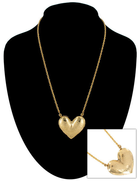 Ky & Co Gold Tone Large Hammered Textured Heart Pendant Rope Chain Necklace USA